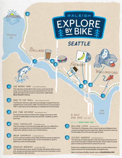 Raleigh Explore by Bike Seattle Interactive Map