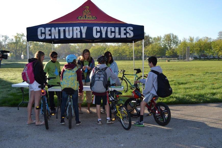 The Bike to School Challenge morning check in. Photo courtesy of Wendy Crites.