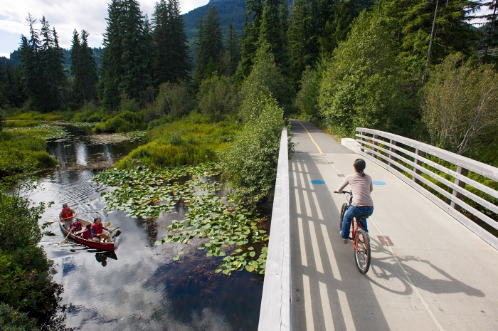 Cycling on the Valley Trail over the River of Golden Dreams in Whistler, Canada - photo courtesy of Tourism Whistler / Mike Crane. Feature image courtesy of Tourism Whistler / Steve Rogers.