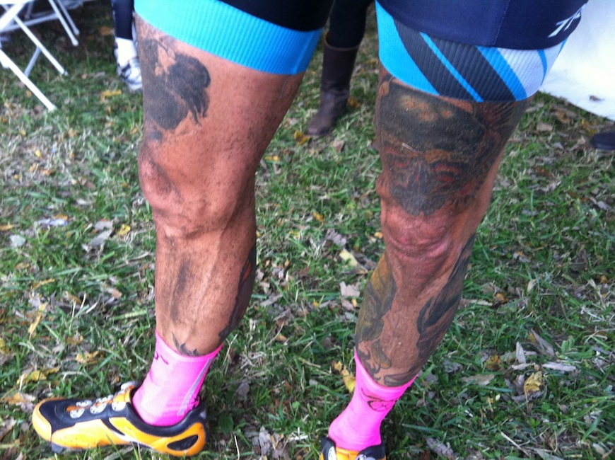 Ben's legs after the race, coated with roost from a dry and fast course. (Photo: Clement)