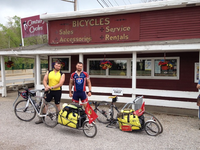 Jay and Denny stop at Century Cycles in Ohio. Photo courtesy of Ride 2 Recovery and Pax2Pax.