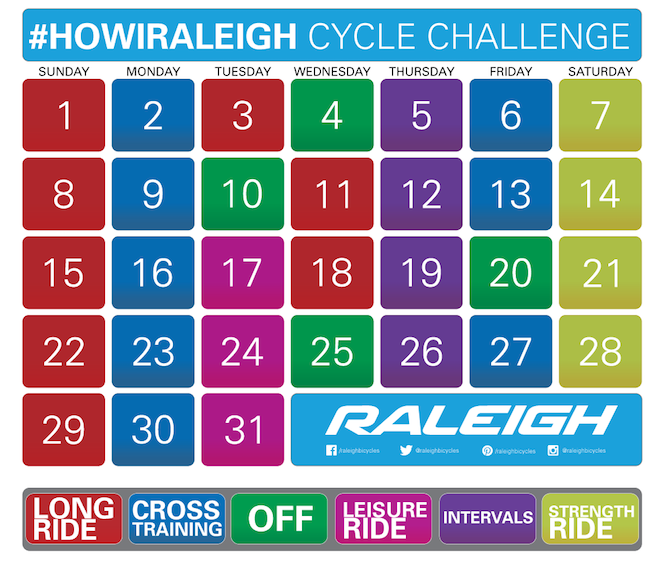 Cycle challenge calendar