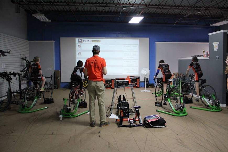 Juniors from the Raleigh-sponsored WAS LABS team training indoors