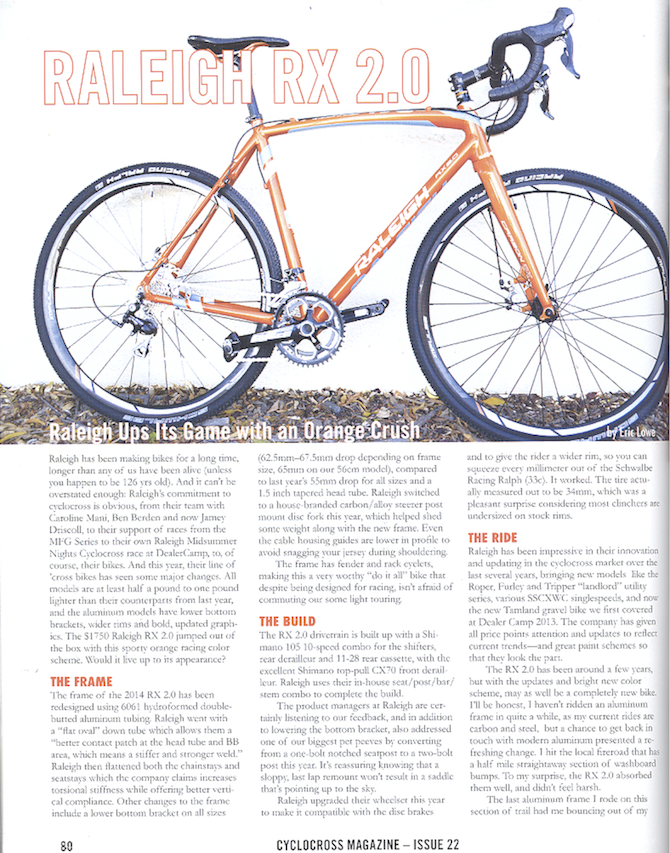 Raleigh RX 2.0 Featured in Cyclocross Magazine