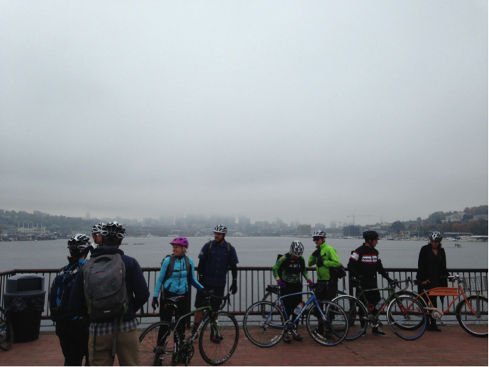 The BRAIN Dealer Tour assembles for a hazy skyline photo near Gas Works Park.